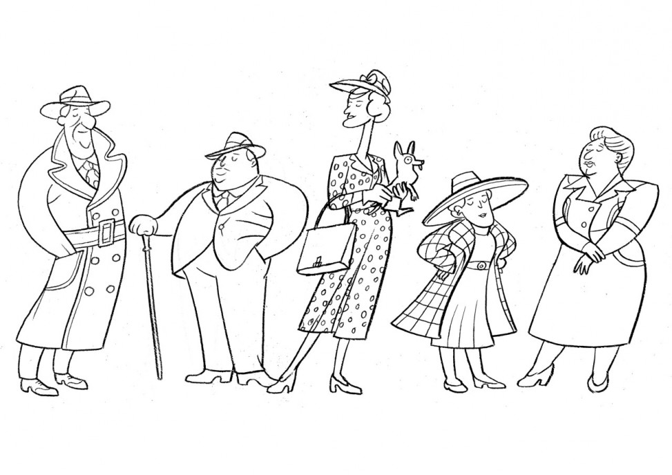 1940s catwalk colouring sheet