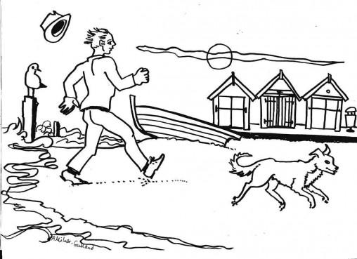 Dog walker colouring sheet