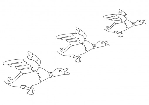 Flying ducks colouring sheet