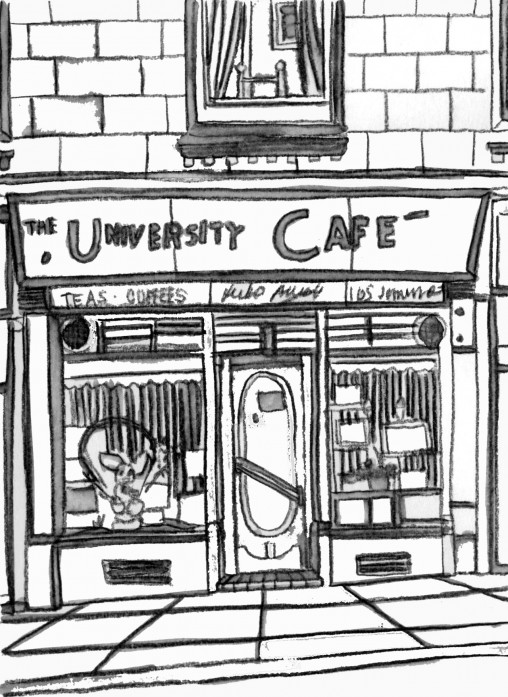 University cafe colouring sheet