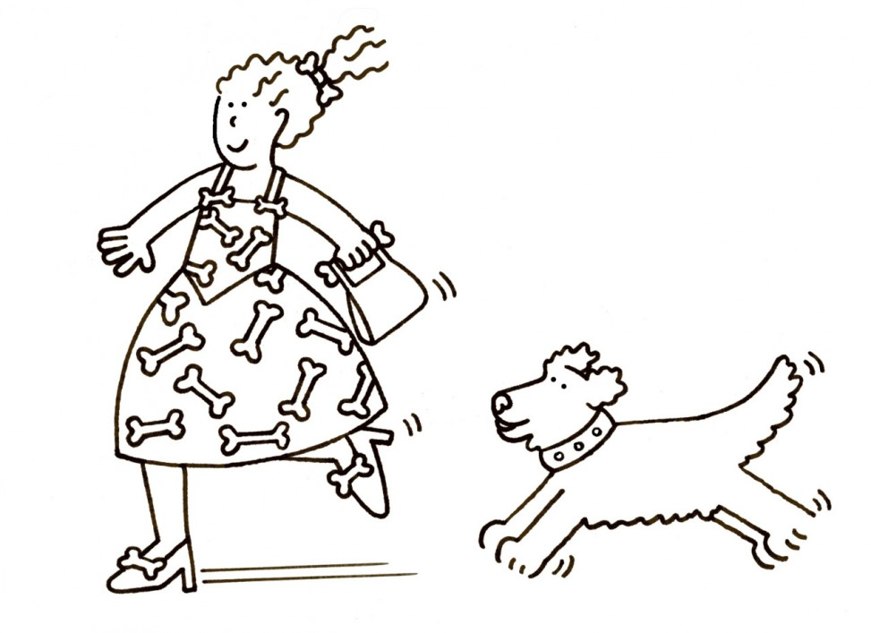 Woman with dog colouring sheet
